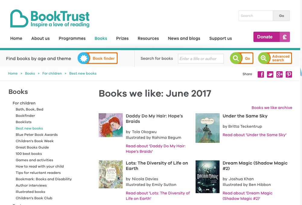 Hope's Braids Featured in the Book Trust!